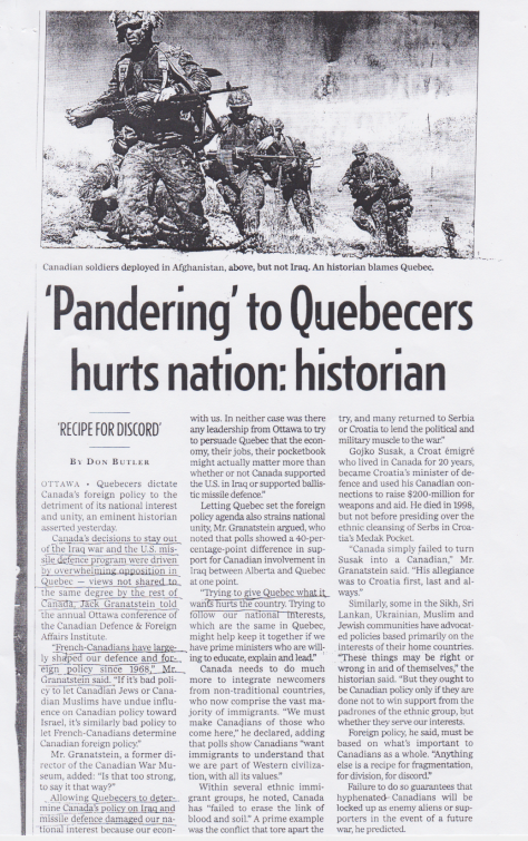 Pandering to Qubecers hurts nation
